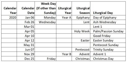2020-Liturgical-Dates